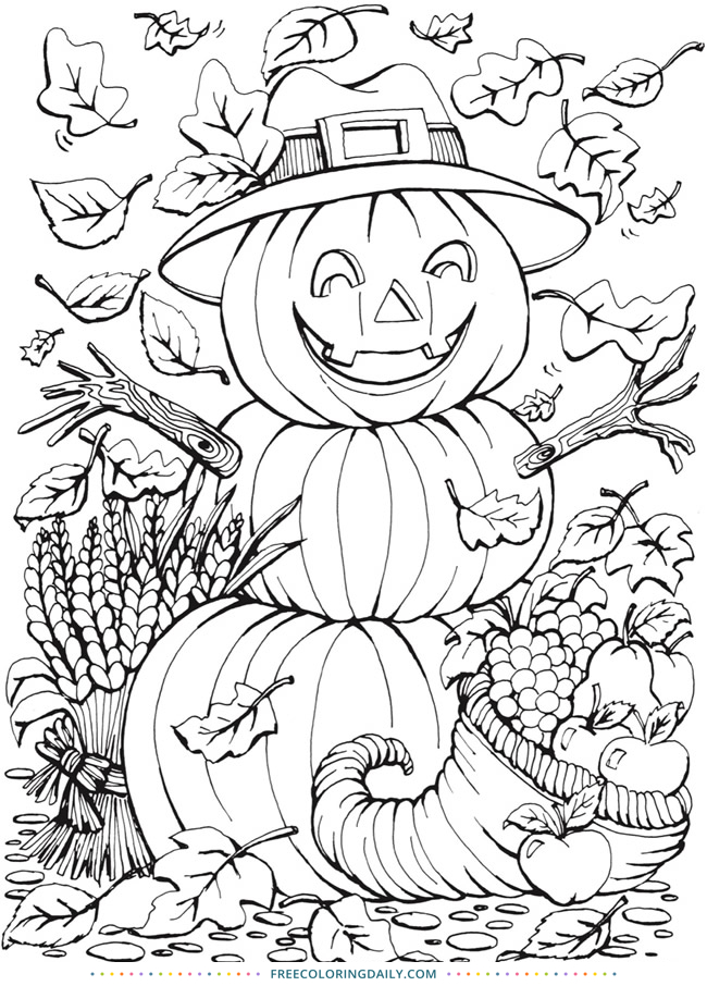 Free Happy Pumpkin Halloween Coloring
