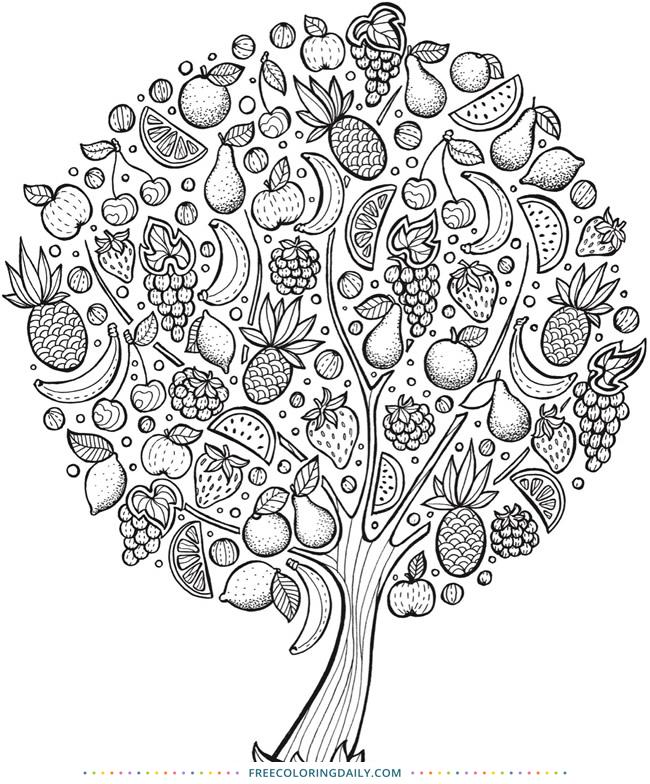 Free Fruit Tree Coloring