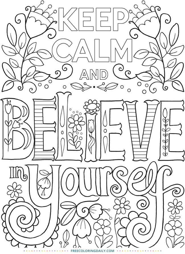 Free Keep Calm Coloring