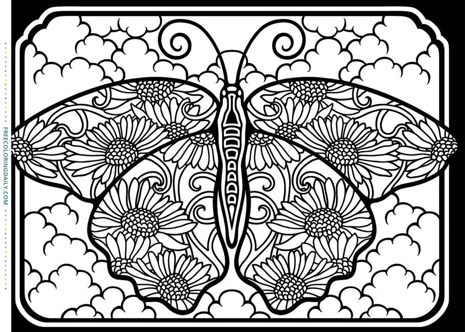 Free Stained Glass Butterfly Coloring
