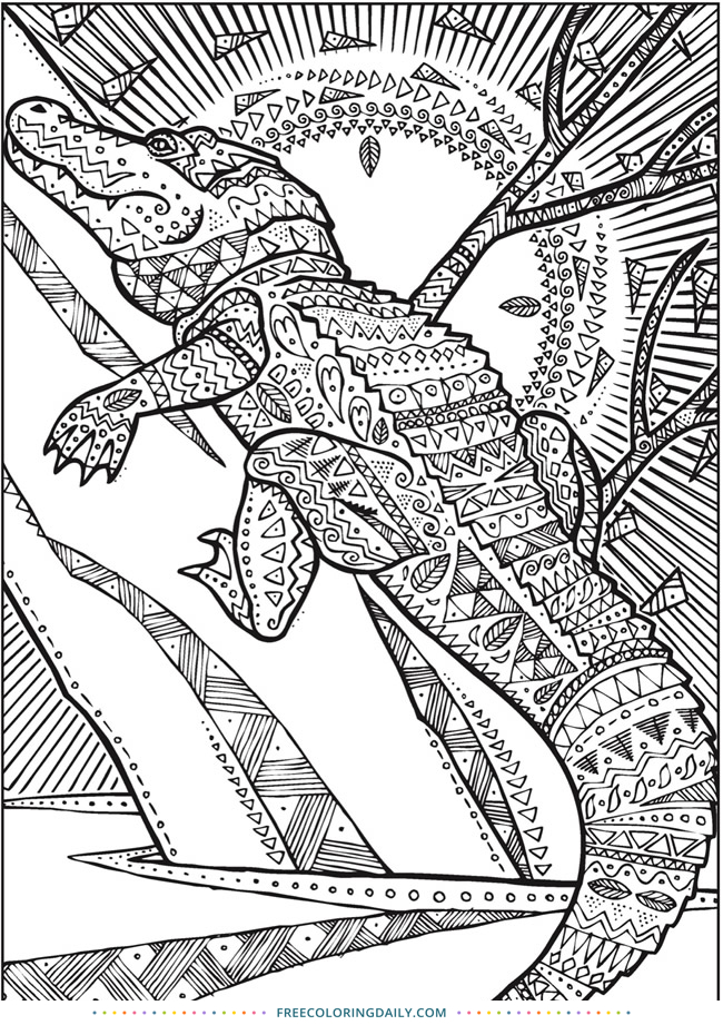 Free Patterned Alligator Coloring