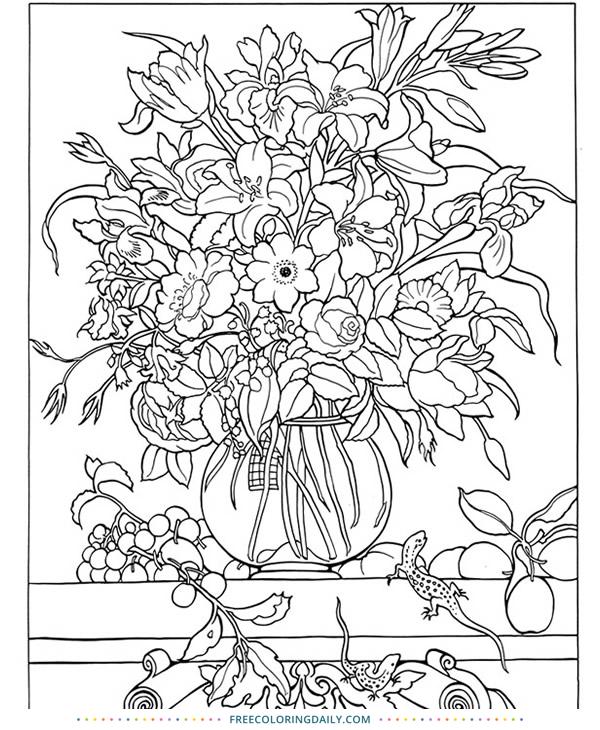 Lovely Floral Arrangement Coloring – FREE!