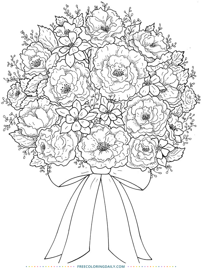 Free Rose Bouquet Coloring Page