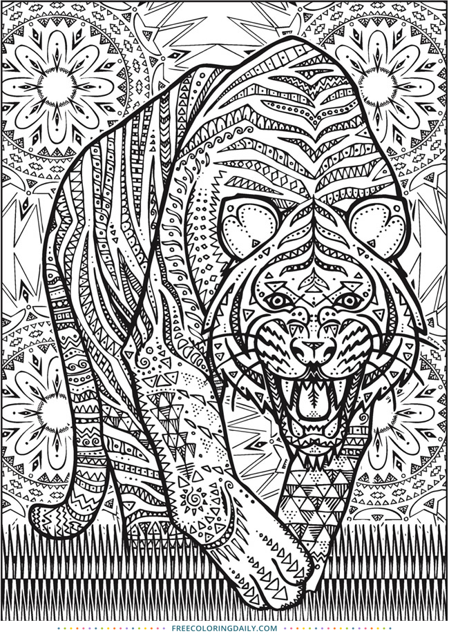 Free Patterned Tiger Coloring