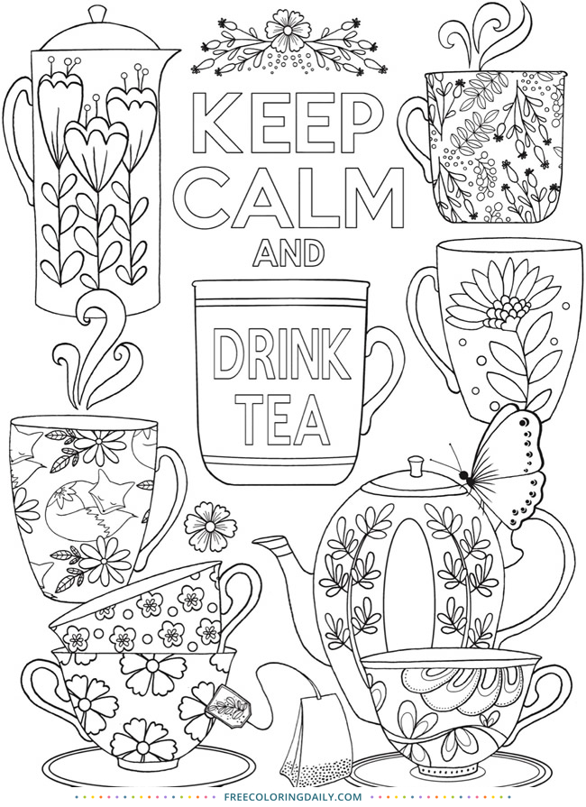 Free Tea Coloring Page