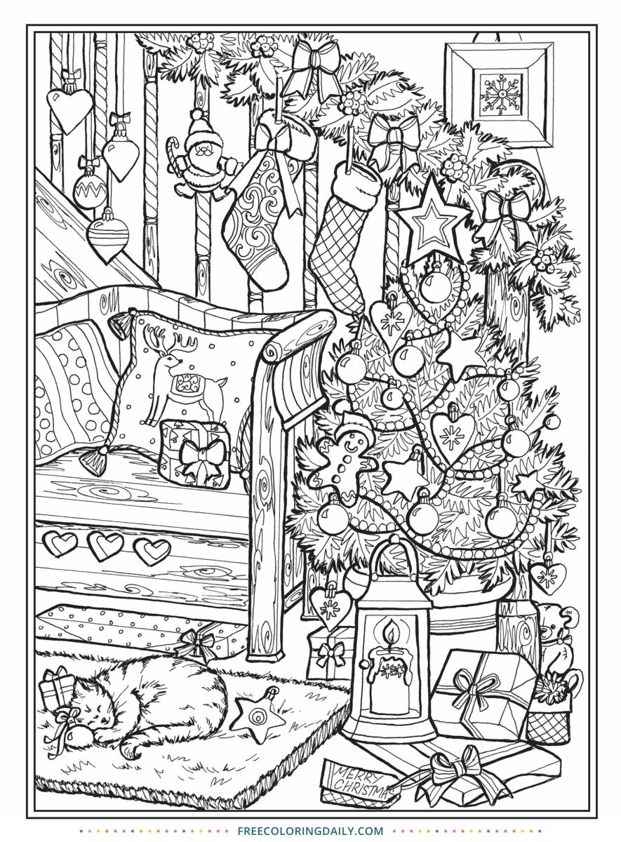 Free Christmas Scene Coloring