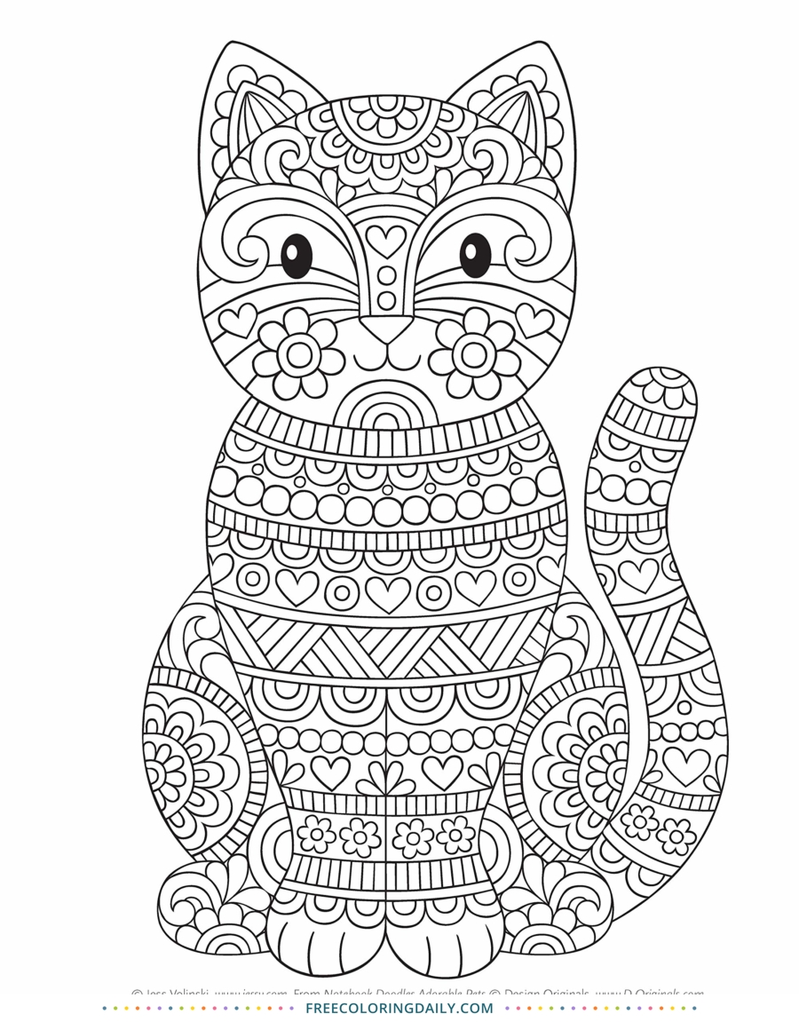 Free Patterned Cat Coloring