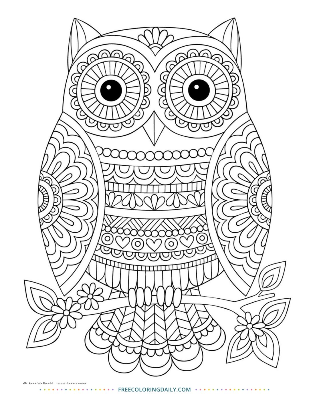 Free Cute Owl Coloring Page