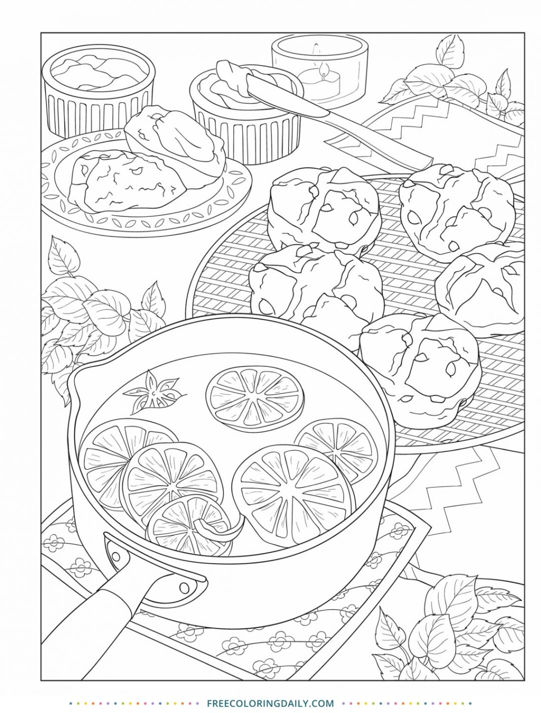 Free Baking Time Coloring Page