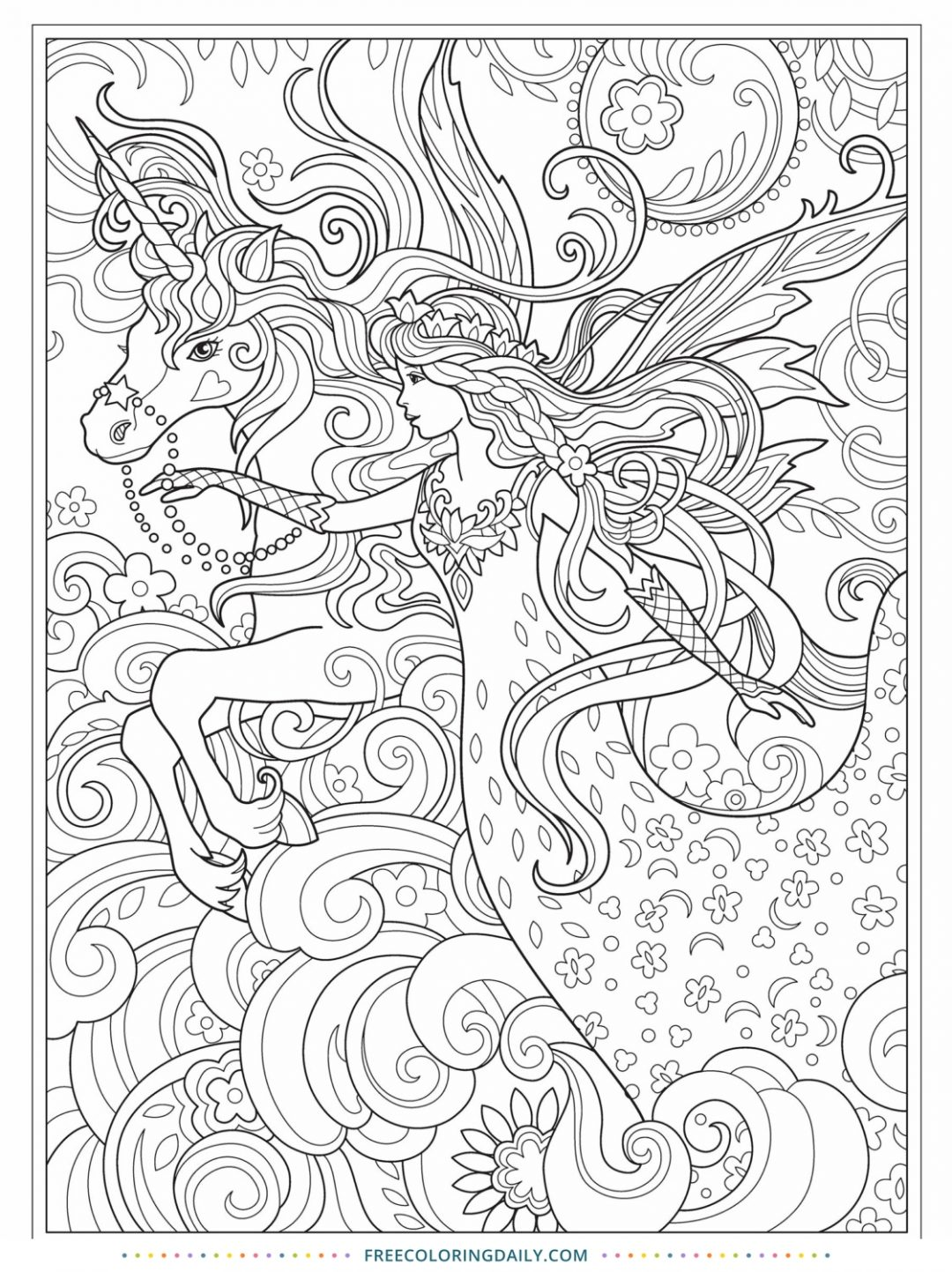 Free Unicorn Princess Coloring Page