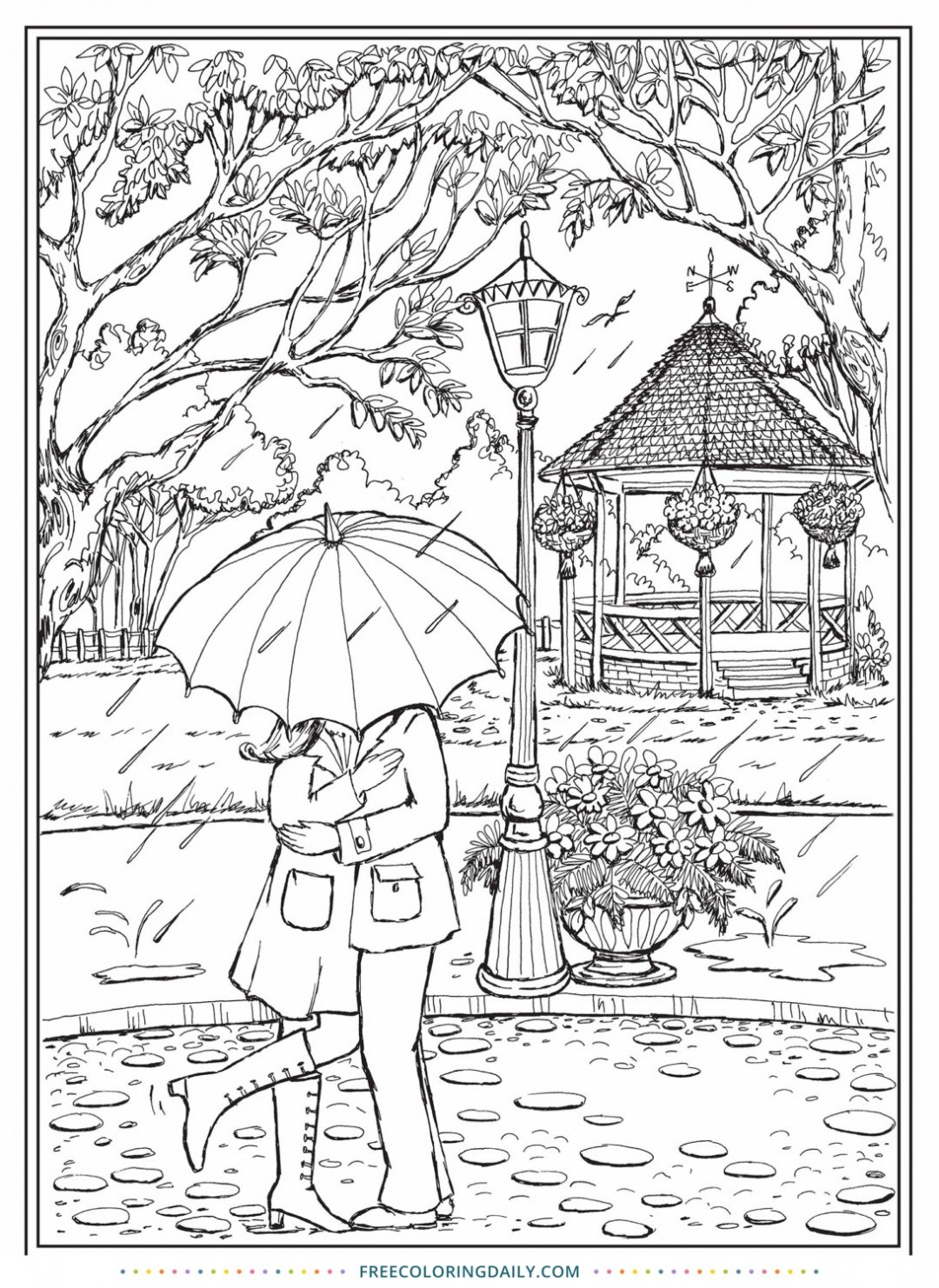 Free Romance in the Rain Coloring Page