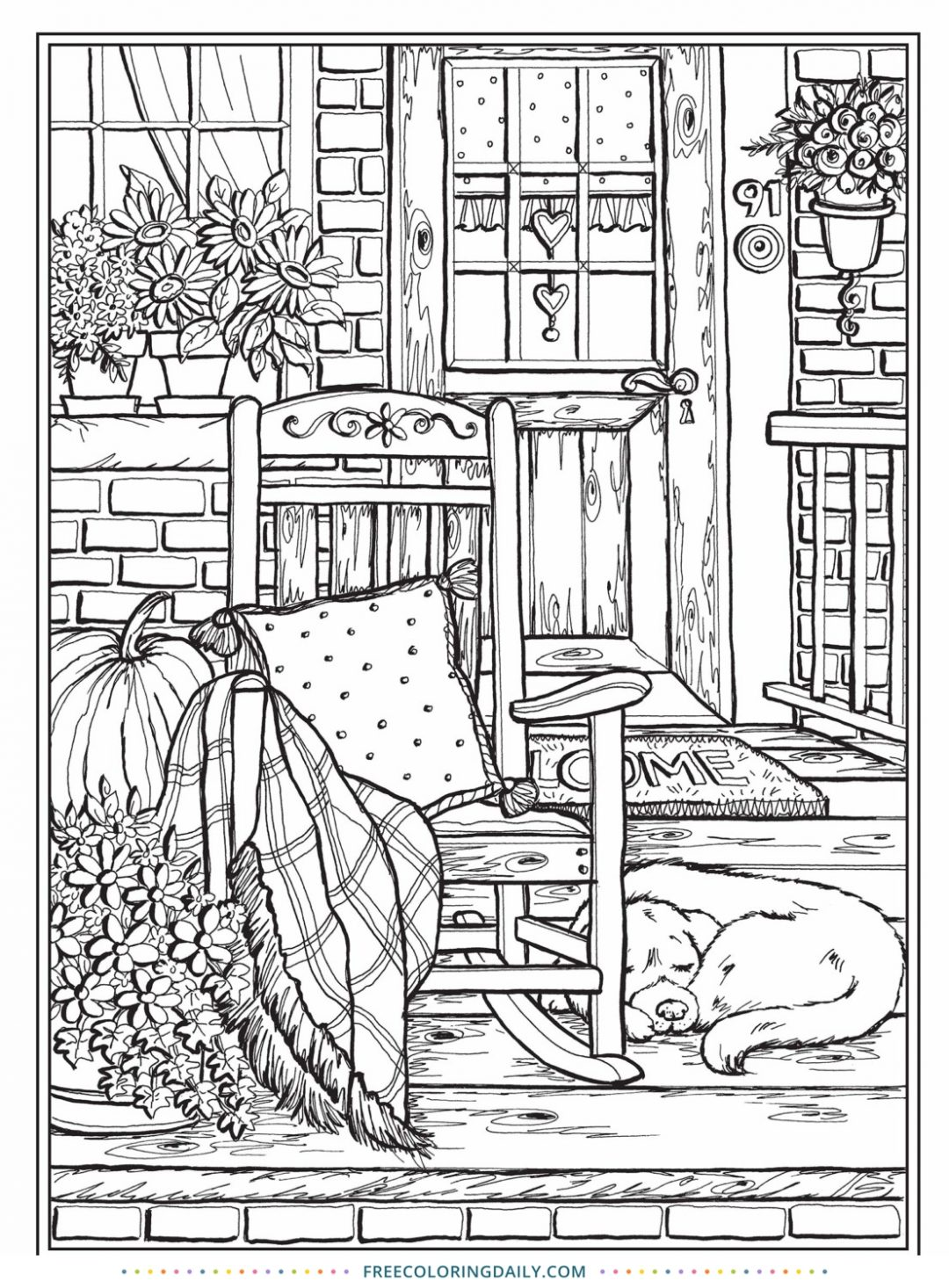 Free Country Porch Coloring