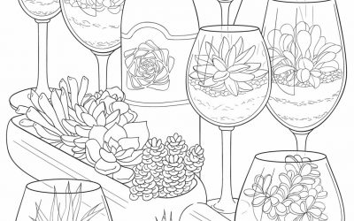 Free Succulents Coloring Page
