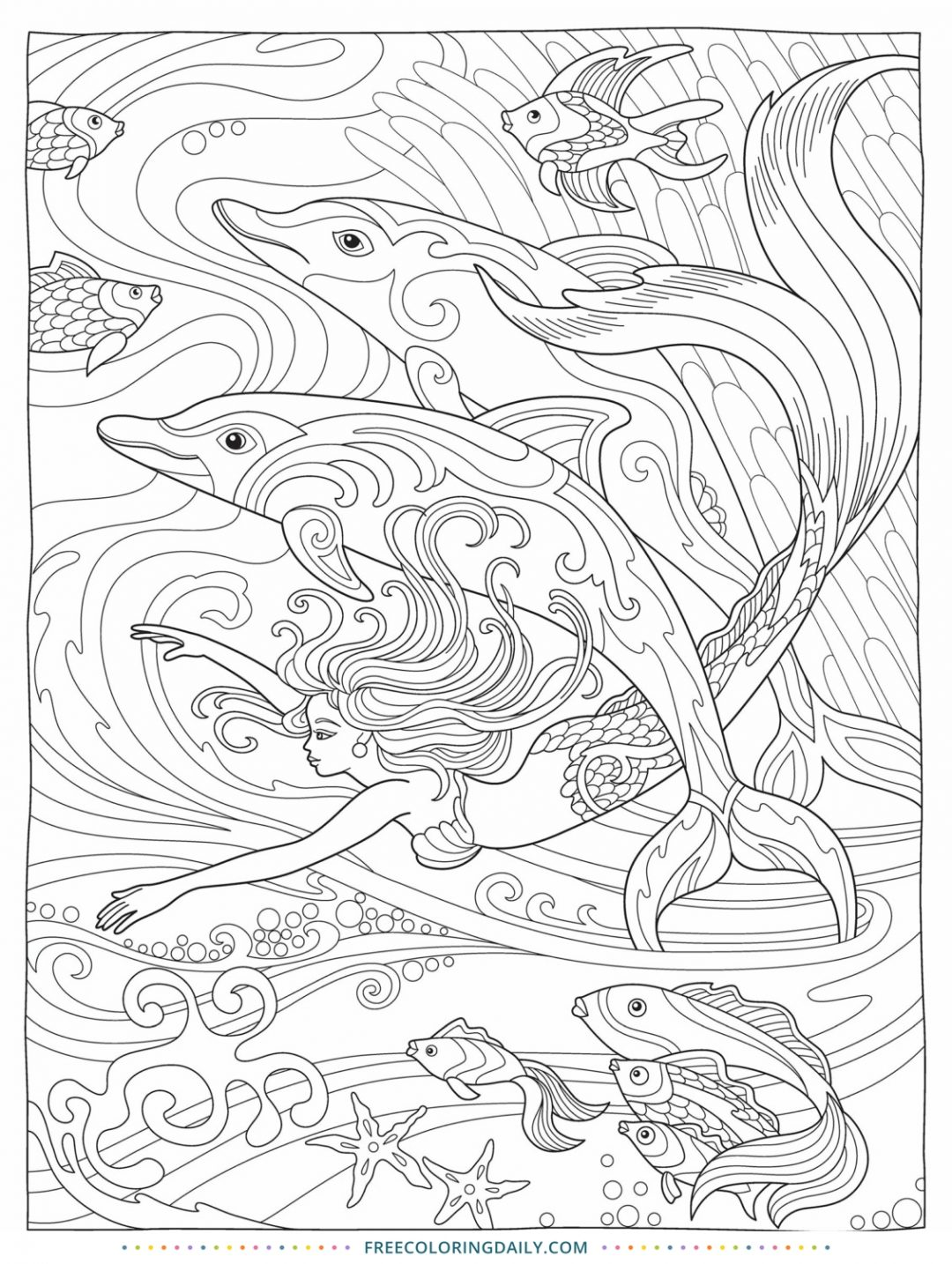 Free Dolphin & Mermaid Coloring
