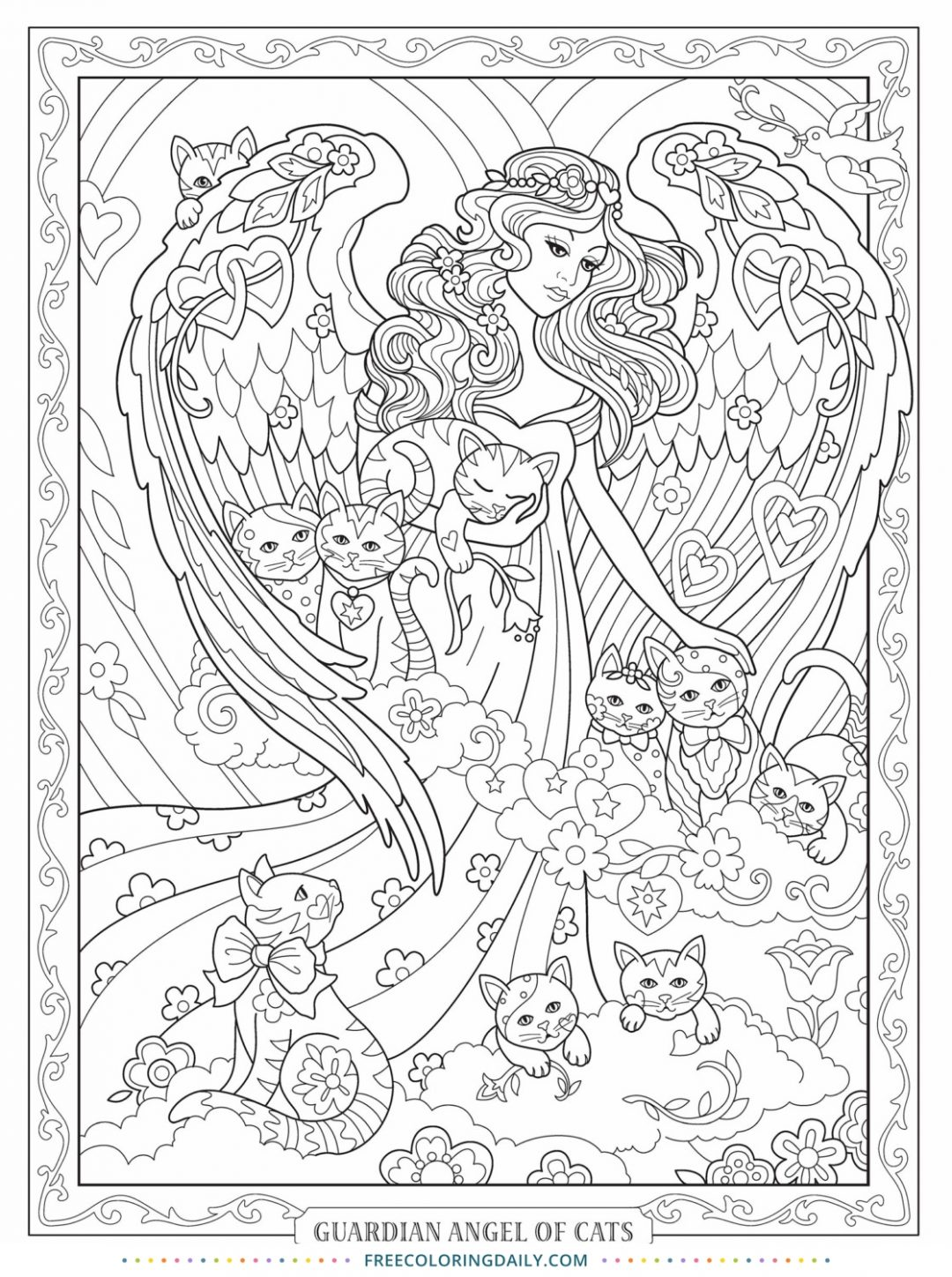 Free Cat Angel Coloring