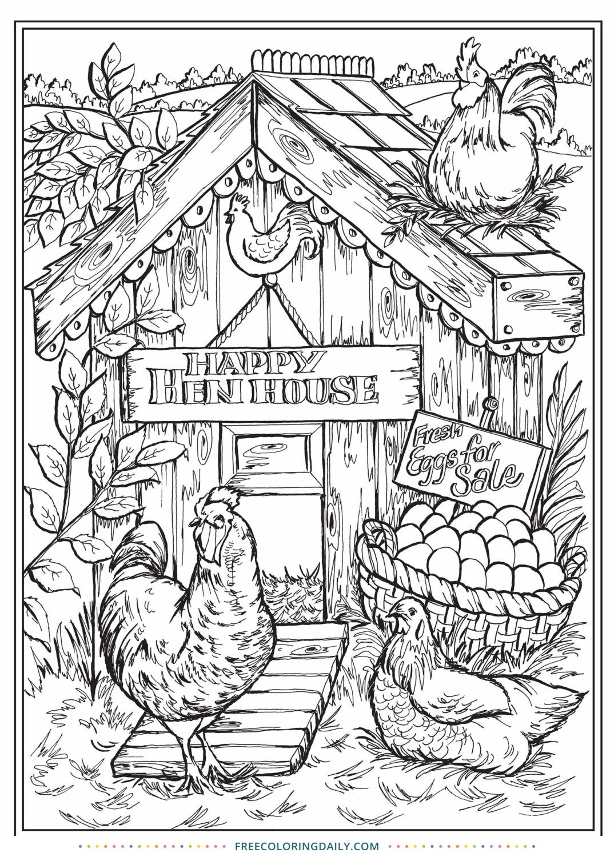 Free Henhouse Coloring Page