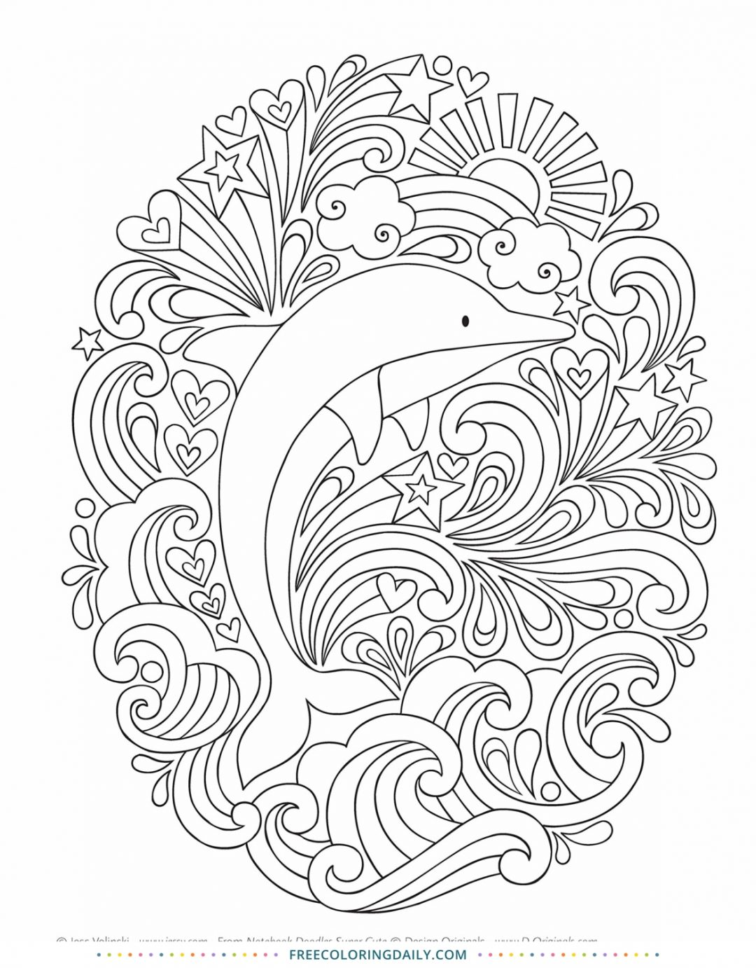 Free Dolphin Swirls Coloring