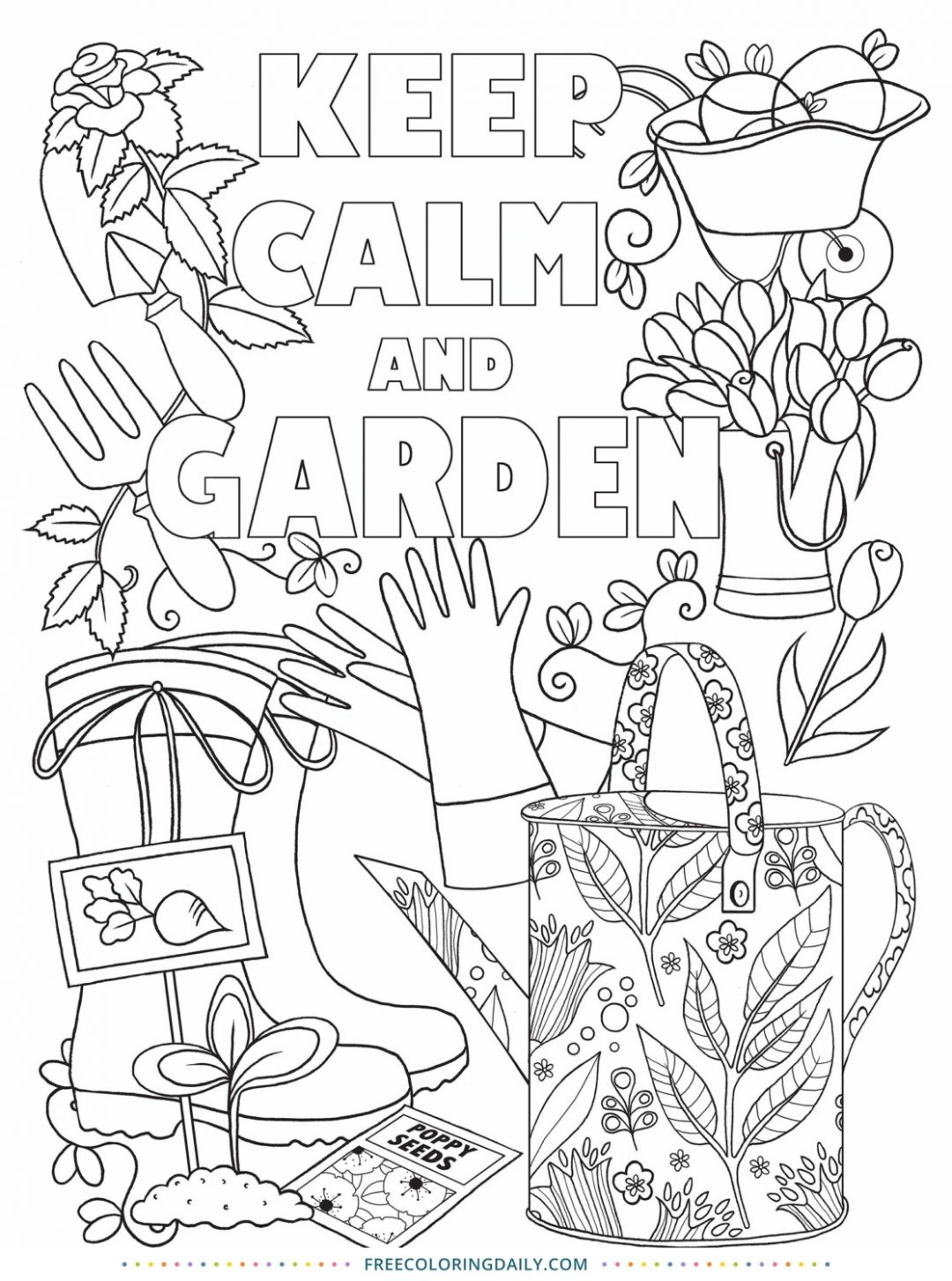 Free Keep Calm & Garden Coloring