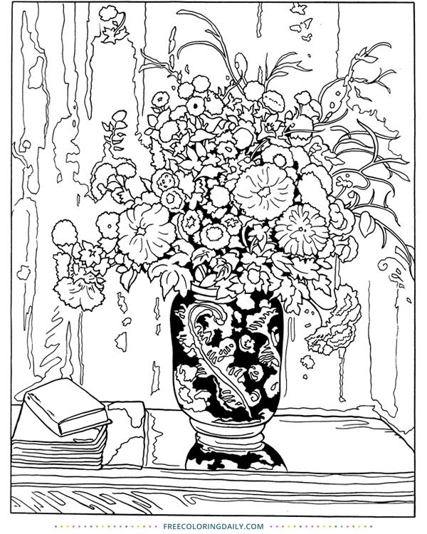 Free Gorgeous Floral Arrangement Coloring