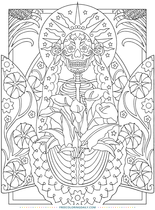 Free Folk Art Coloring Page