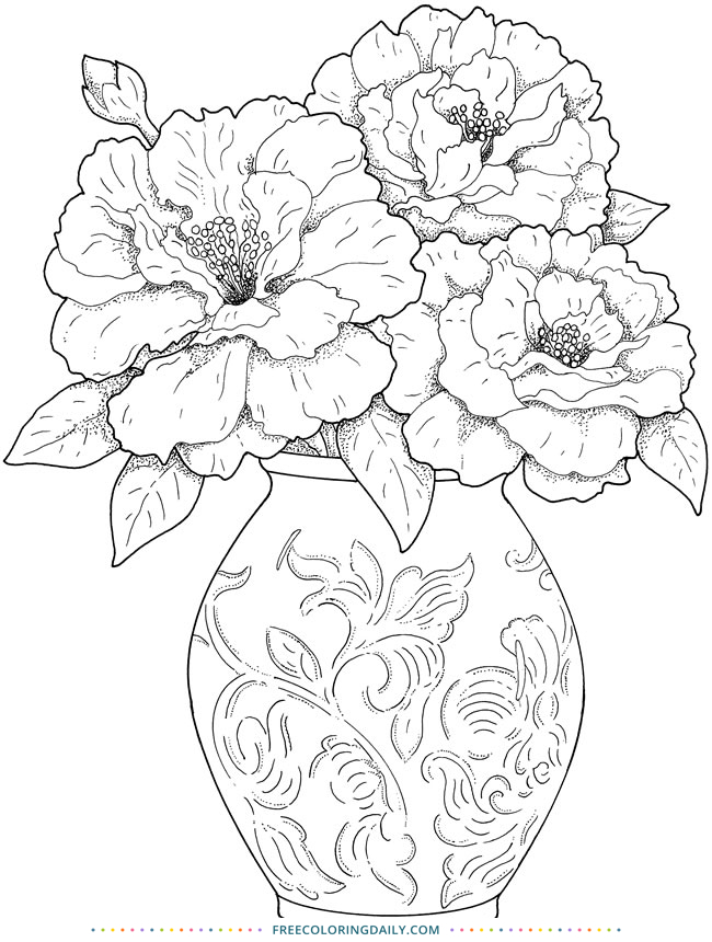 Free Vase & Flowers Coloring