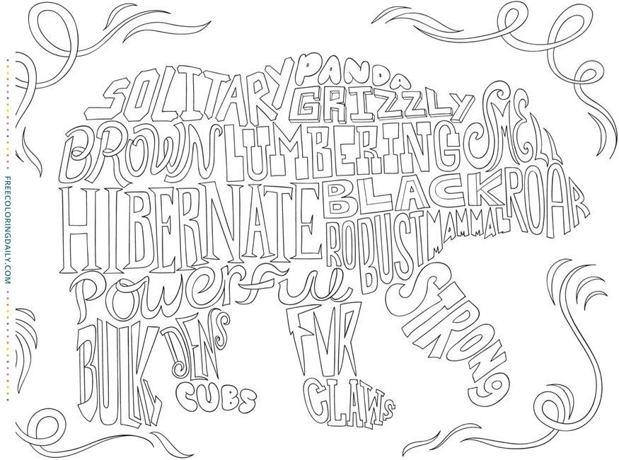 Free Word Bear Coloring