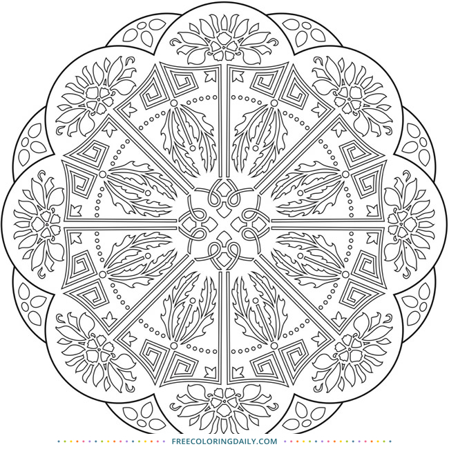 Free Pretty Mandala Coloring