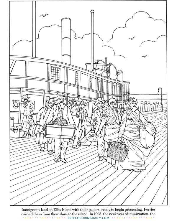 Free Ellis Island Coloring
