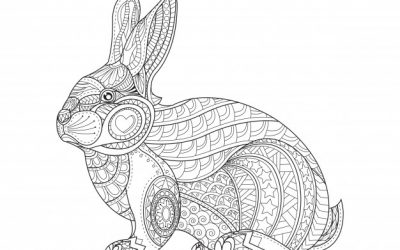 Free Patterned Rabbit Coloring Page