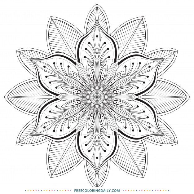 Free Beautiful Flower Mandala Coloring Page