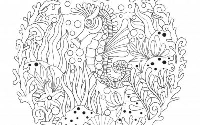 Free Seahorse Zentangle Coloring