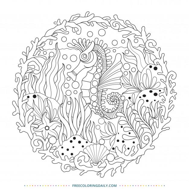 Free Seahorse Zentangle Coloring