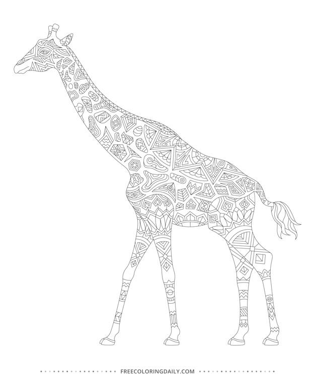 Free Giraffe Coloring Page