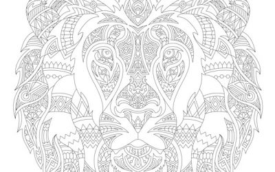 Free Patterned Lion Coloring Page