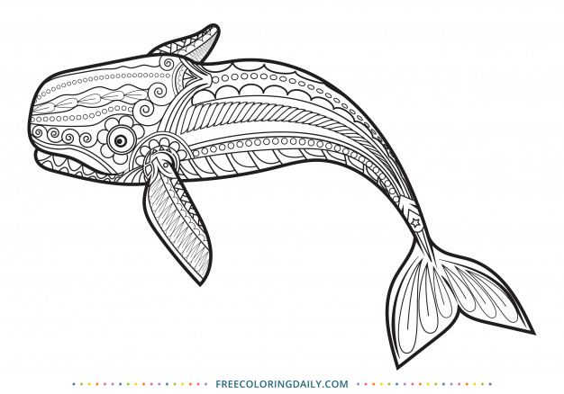 Free Patterned Whale Coloring Page