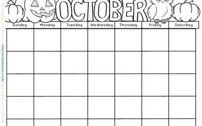 Free October Calendar Coloring