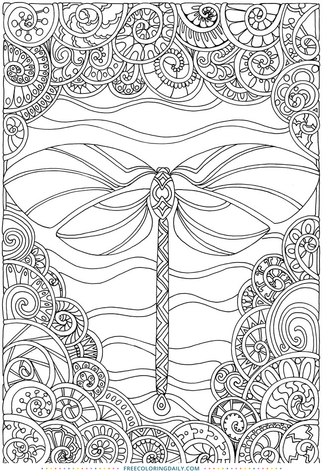 Free Dragonfly Pattern Coloring