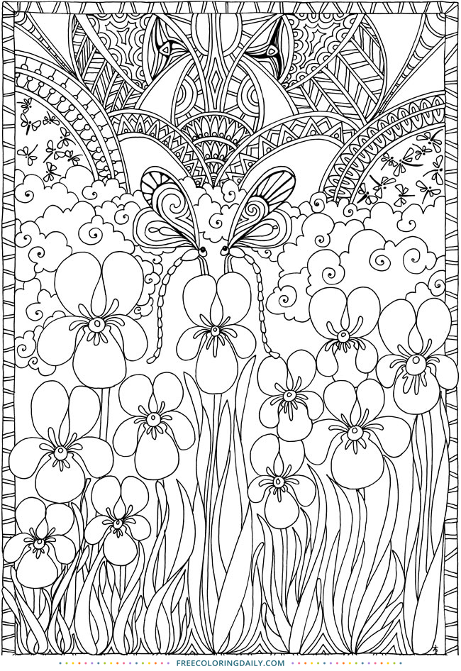 Free Nature Patterns Coloring Page