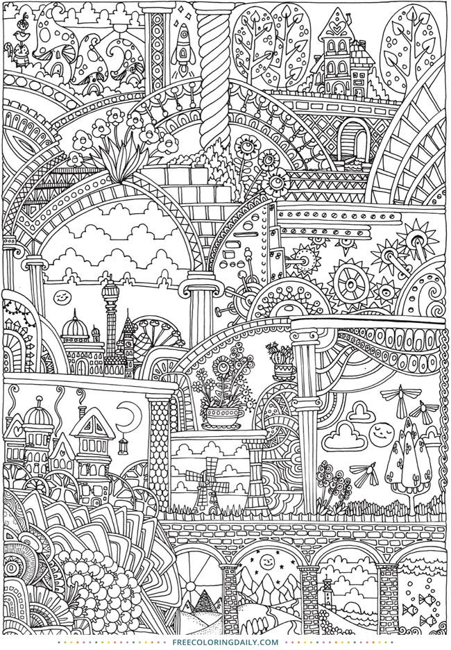 Free Fantasy Castle Coloring