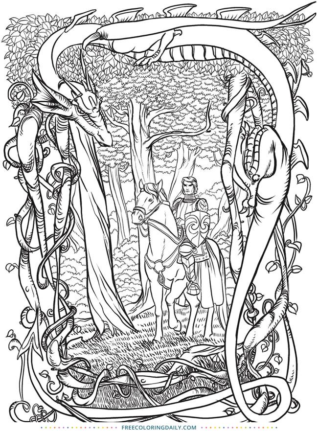 Free Knight & Dragon Coloring
