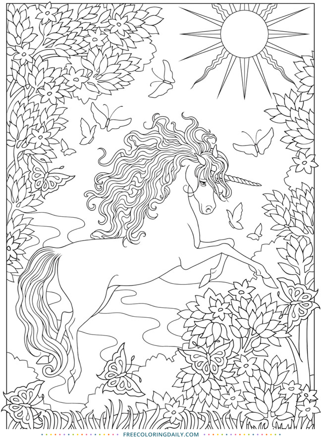 Free Unicorn Fantasy Coloring