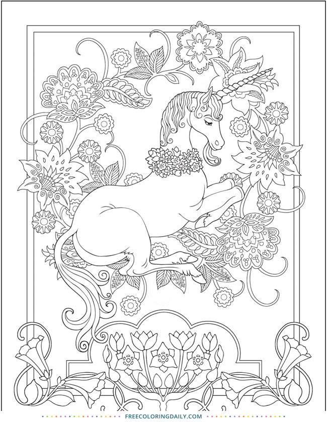 Free Elegant Unicorn Coloring
