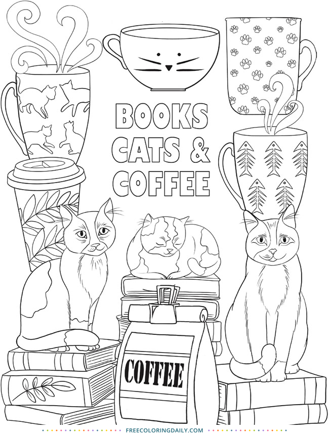 Books Cats & Coffee Coloring