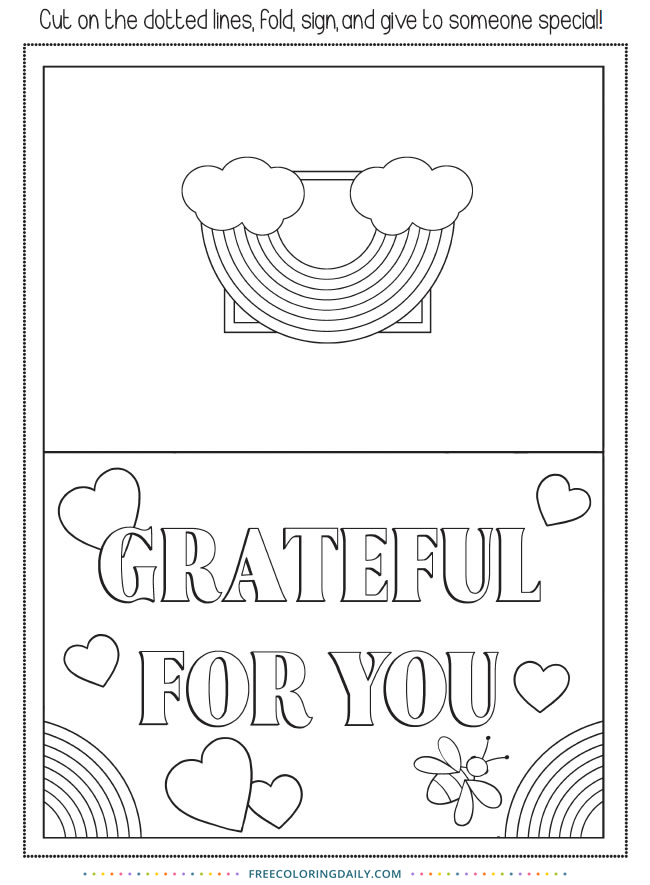 Free Grateful Card to Color