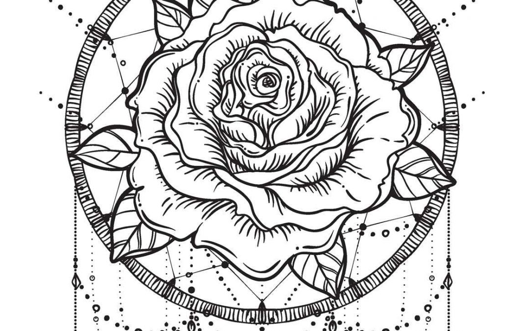 Free Rose Dreamcatcher Coloring