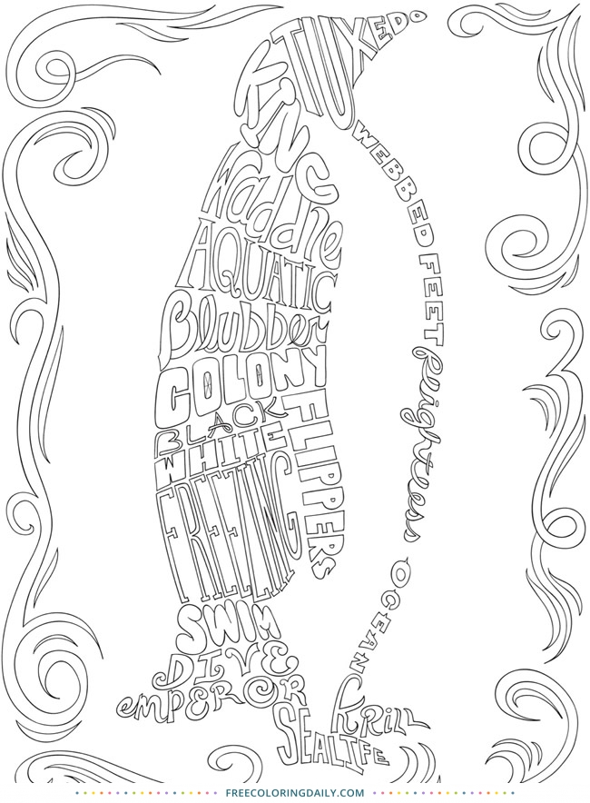 Free Word Penguin Coloring