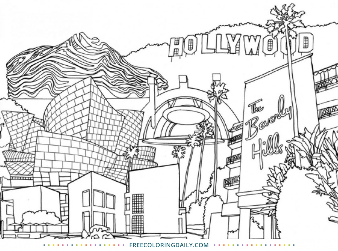 Free Hollywood Coloring Page