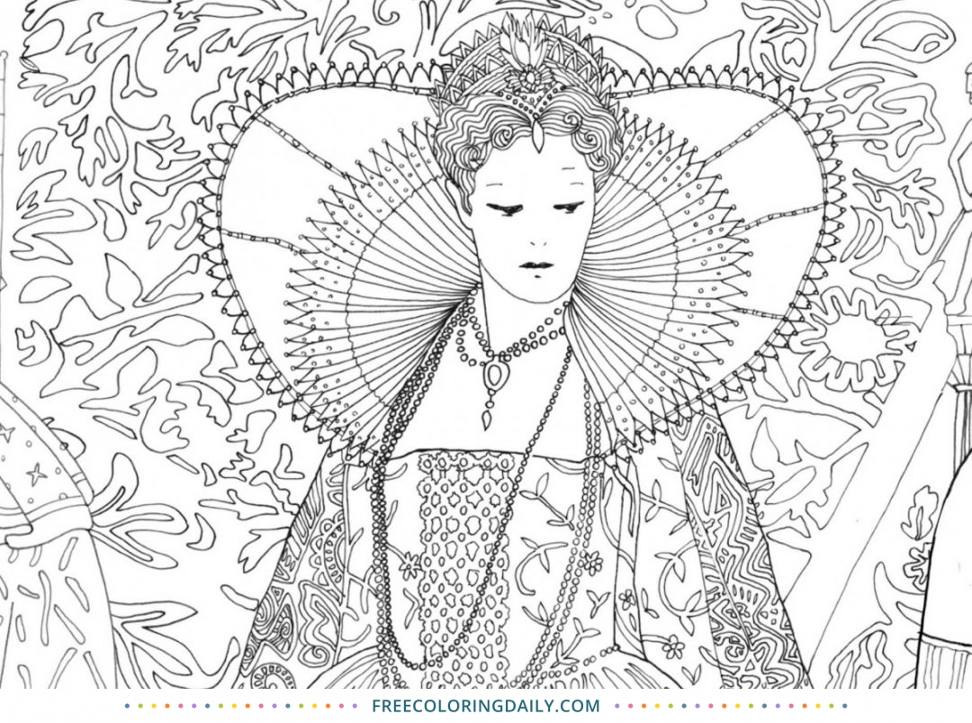 Free Queen Coloring Page