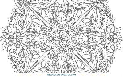 Free Flowers & Bows Mandala Coloring