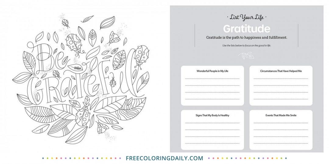 Free Gratitude Coloring Page